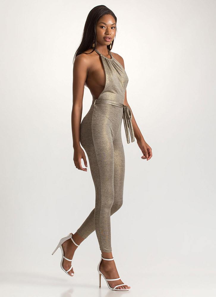 Haute Nights Out Metallic Jumpsuit GOLD
