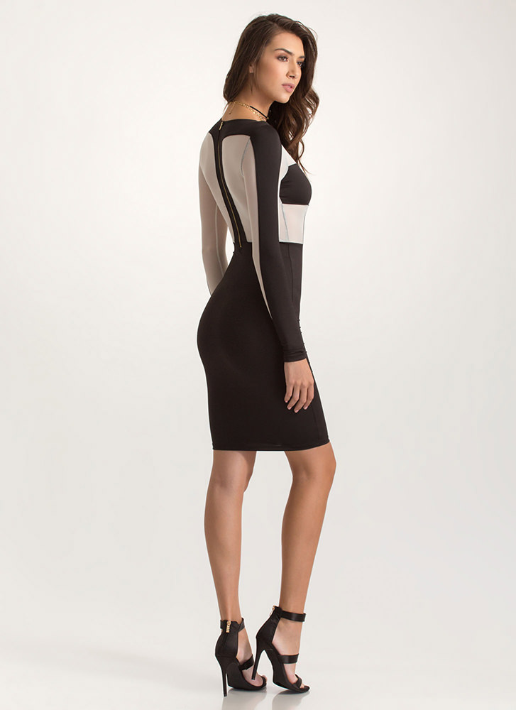 Uptown Two-Tone Mesh Inset Dress BLACK