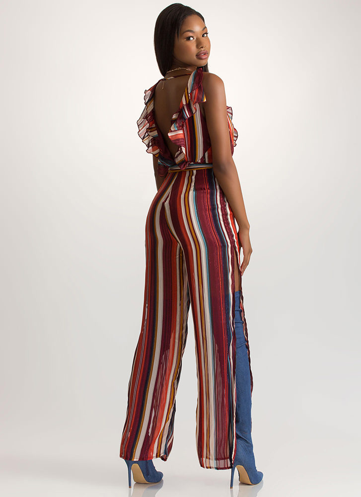 End Of The Line Ruffled Slit Jumpsuit WINE