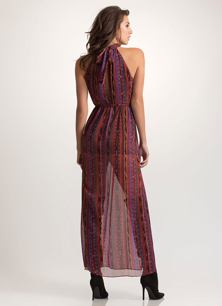 Go Boho Plunging Choker Slit Maxi Dress WINE
