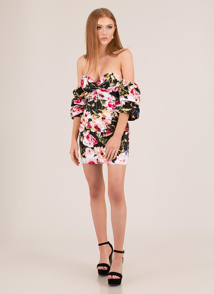 Pretty Petals Off-Shoulder Dress BLACK