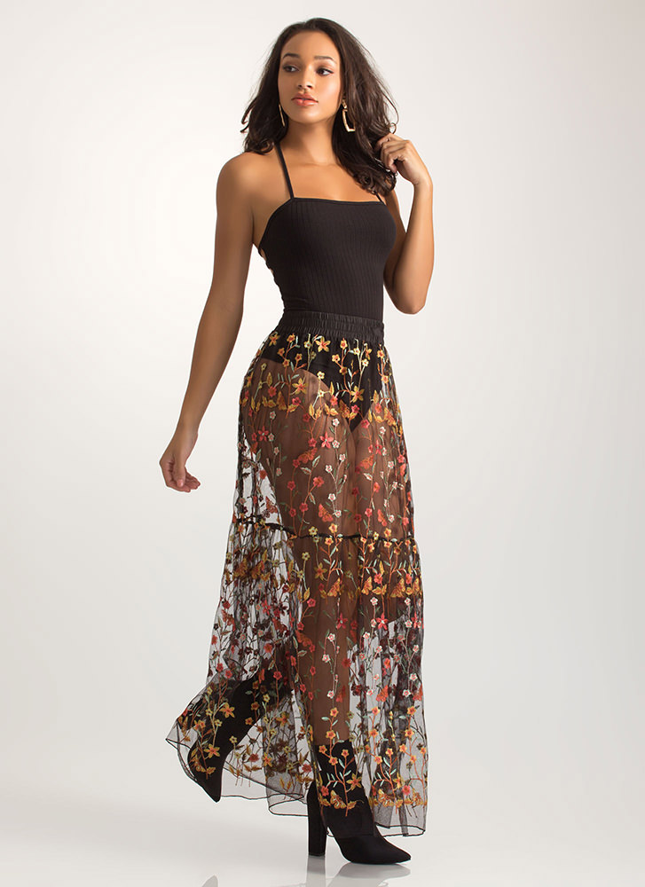 Sheer Bliss Floral Embroidery Maxi Skirt BLACK