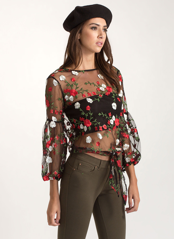 Sheer Me Yours Tied Floral Top BLACK