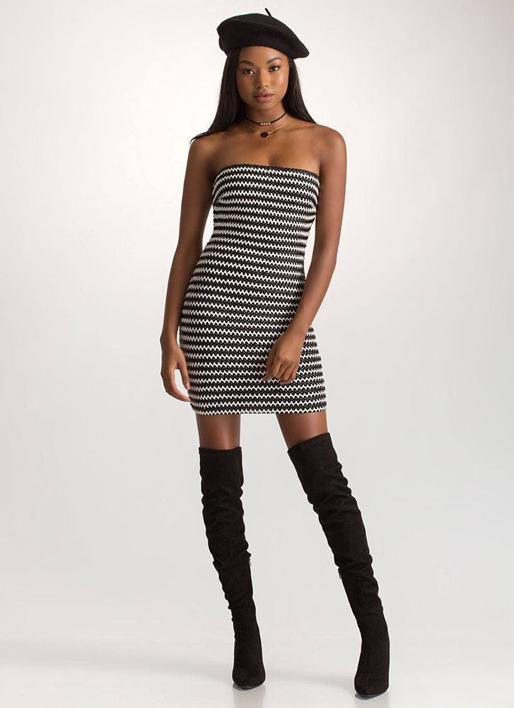 Weave It To Us Striped Strapless Dress BLACKWHITE