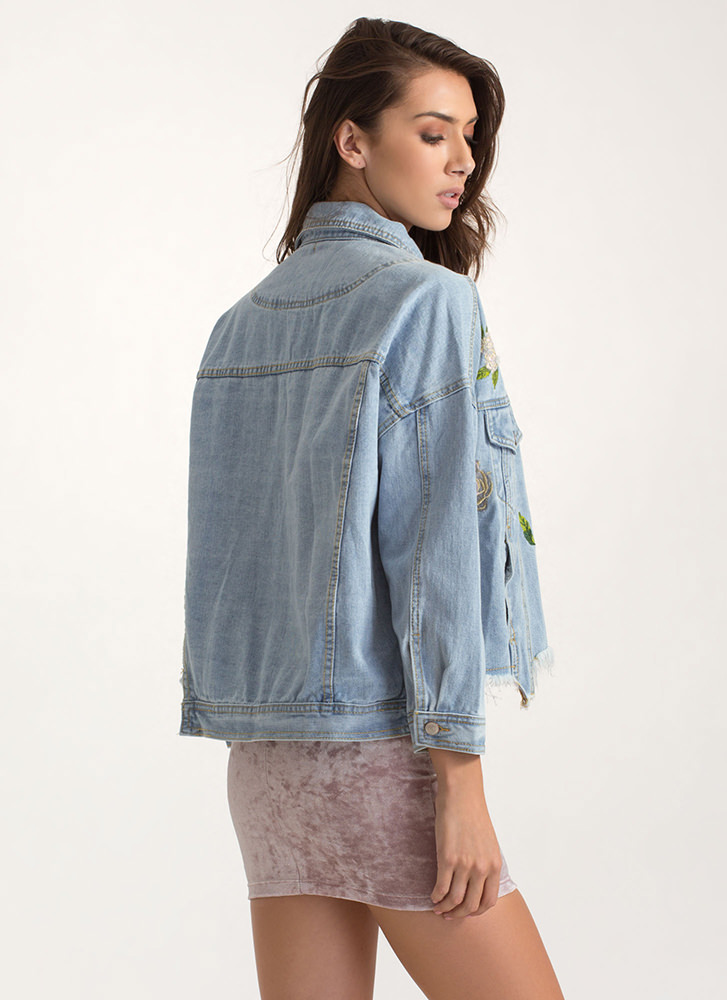 Hope Spring Embroidered Denim Jacket LTBLUE