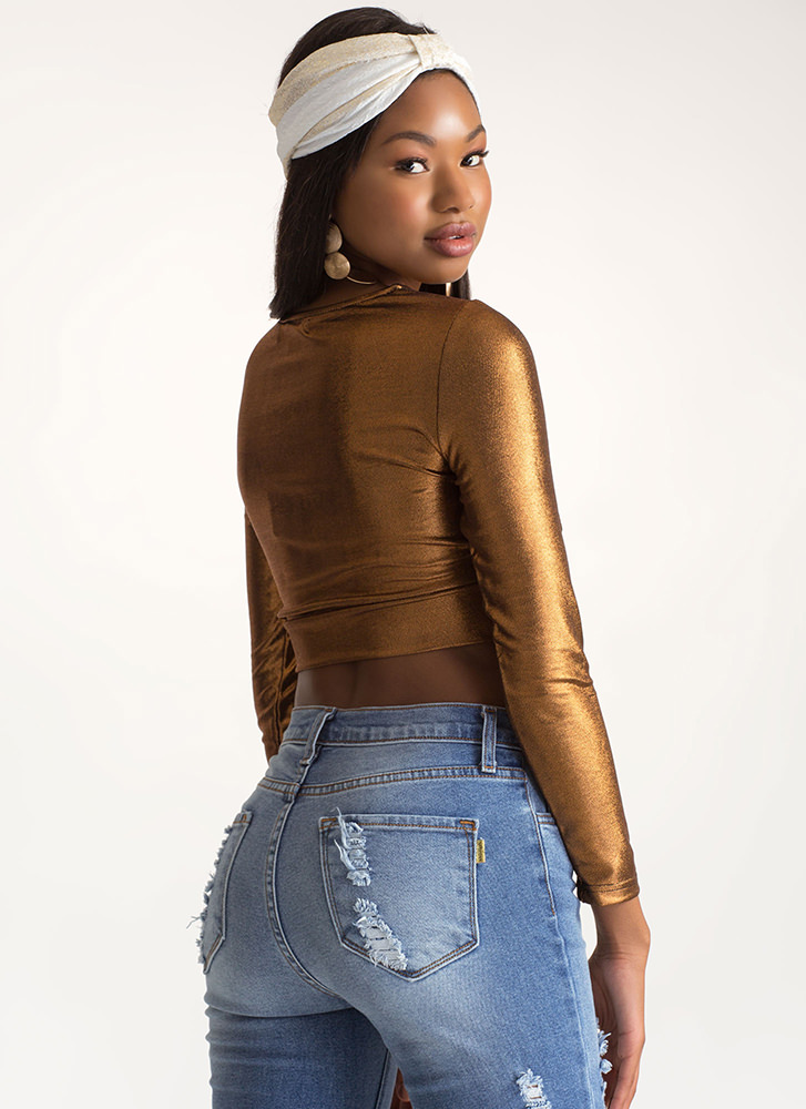 With A Twist Metallic Crop Top GOLD