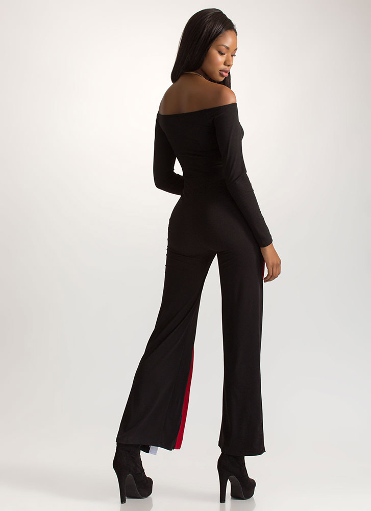 Party Pick Striped Off-Shoulder Jumpsuit BLACK