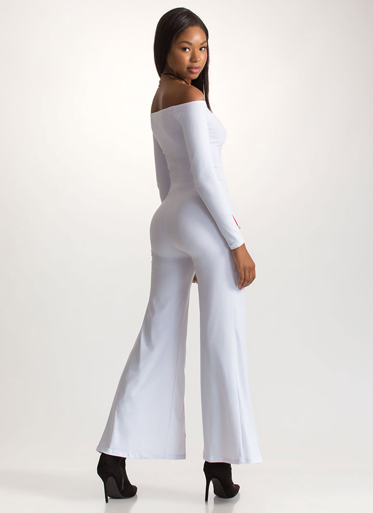 Party Pick Striped Off-Shoulder Jumpsuit WHITE