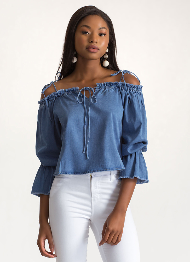 Cool Girl Off-Shoulder Chambray Top BLUE