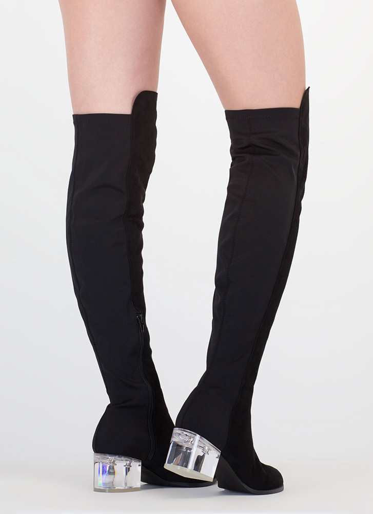 Clear Out Thigh-High Block Heel Boots BLACK