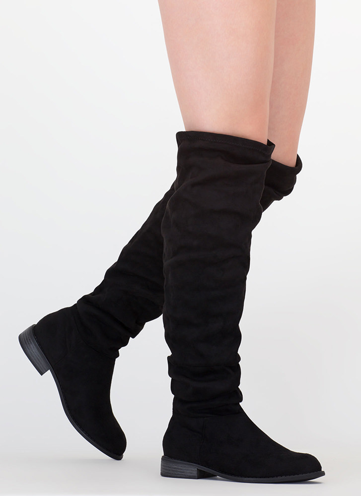 Slouch On Faux Suede Knee-High Boots BLACK