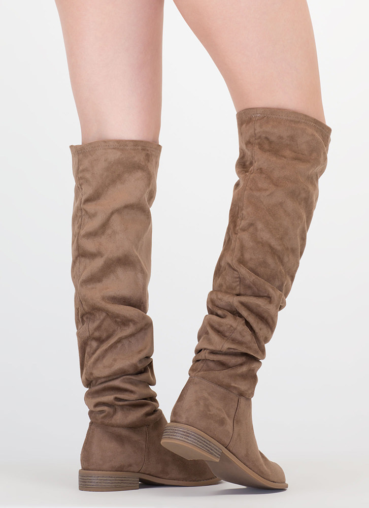 Slouch On Faux Suede Knee-High Boots TAUPE