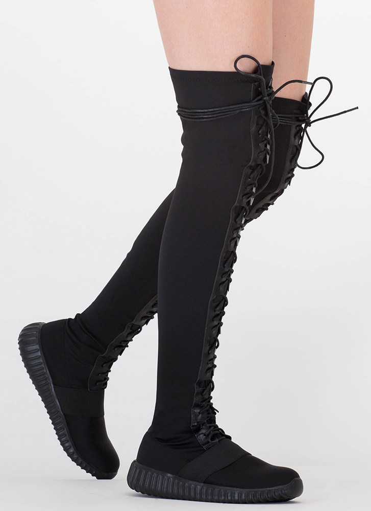 Fashion Week Thigh-High Sneaker Boots BLACK