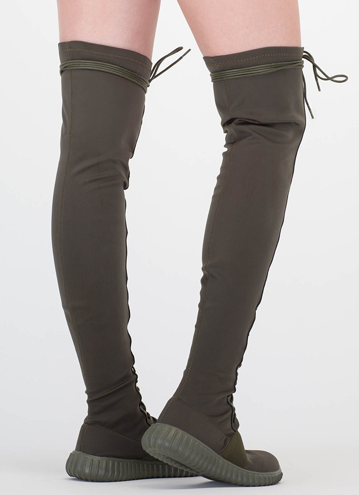 Fashion Week Thigh-High Sneaker Boots OLIVE