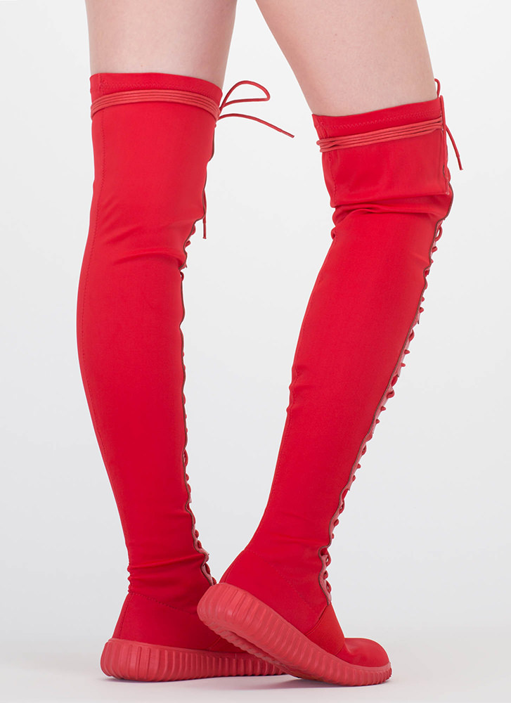 Fashion Week Thigh-High Sneaker Boots RED