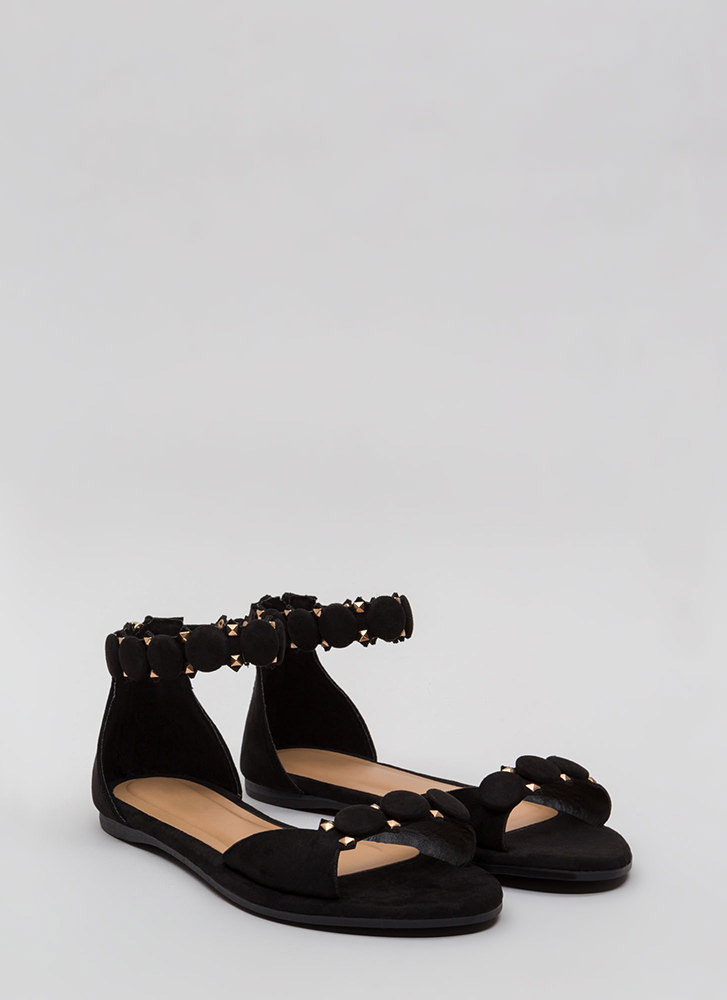 Right Buttons Studded Faux Suede Sandals BLACK