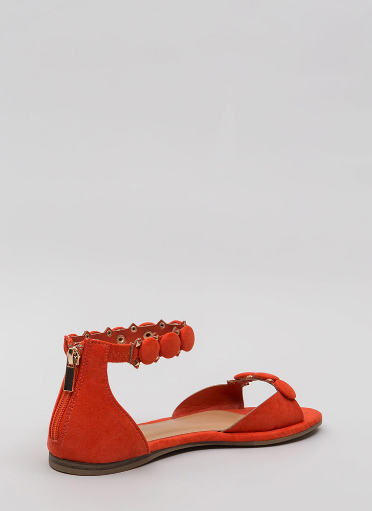 Right Buttons Studded Faux Suede Sandals ORANGE