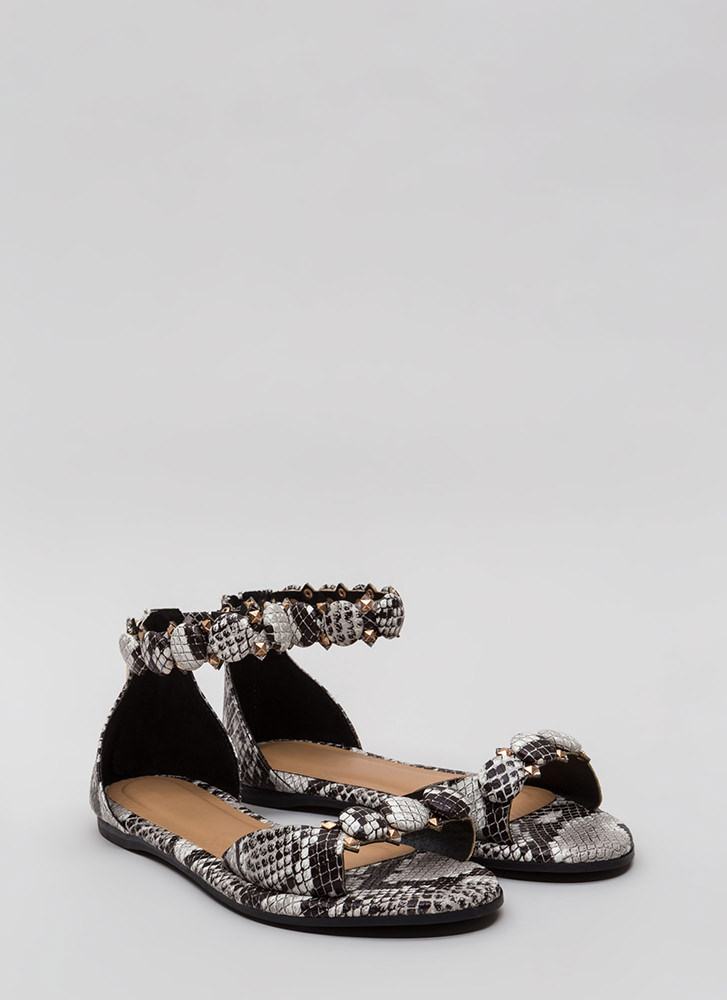 Right Buttons Studded Faux Snake Sandals BLACK