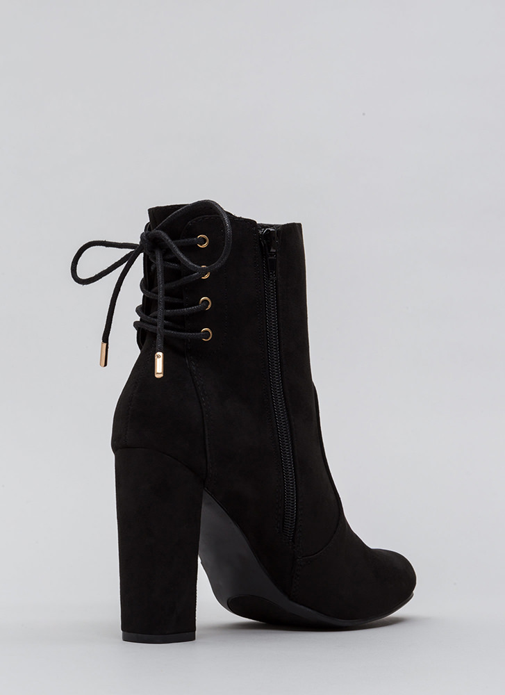 Walking Out Chunky Lace-Back Booties BLACK