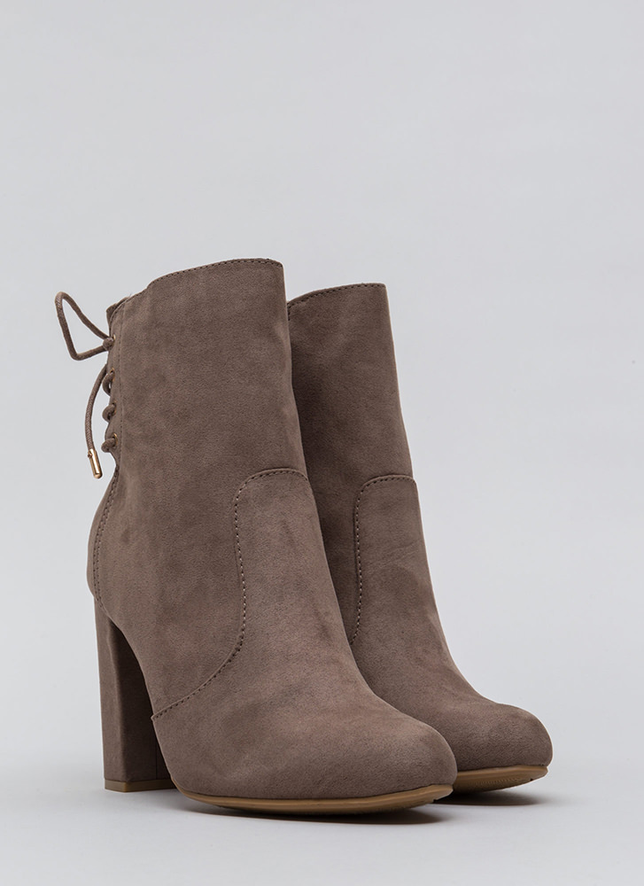 Walking Out Chunky Lace-Back Booties TAUPE