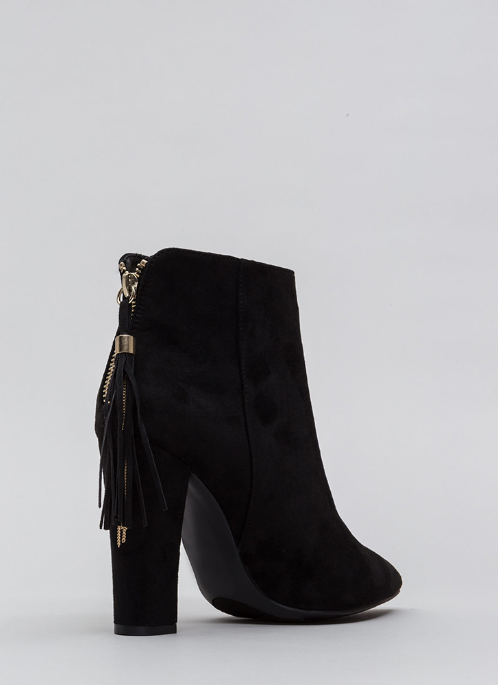 Walk Out Pointy Tassel Booties BLACK