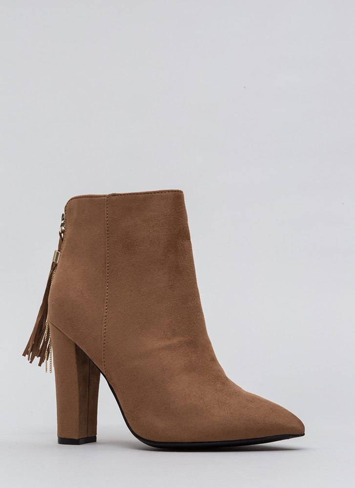 Walk Out Pointy Tassel Booties CAMEL