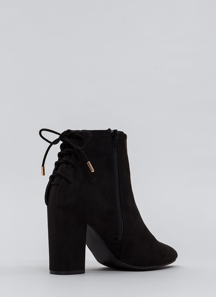 Lace It Back Pointy Faux Suede Booties BLACK