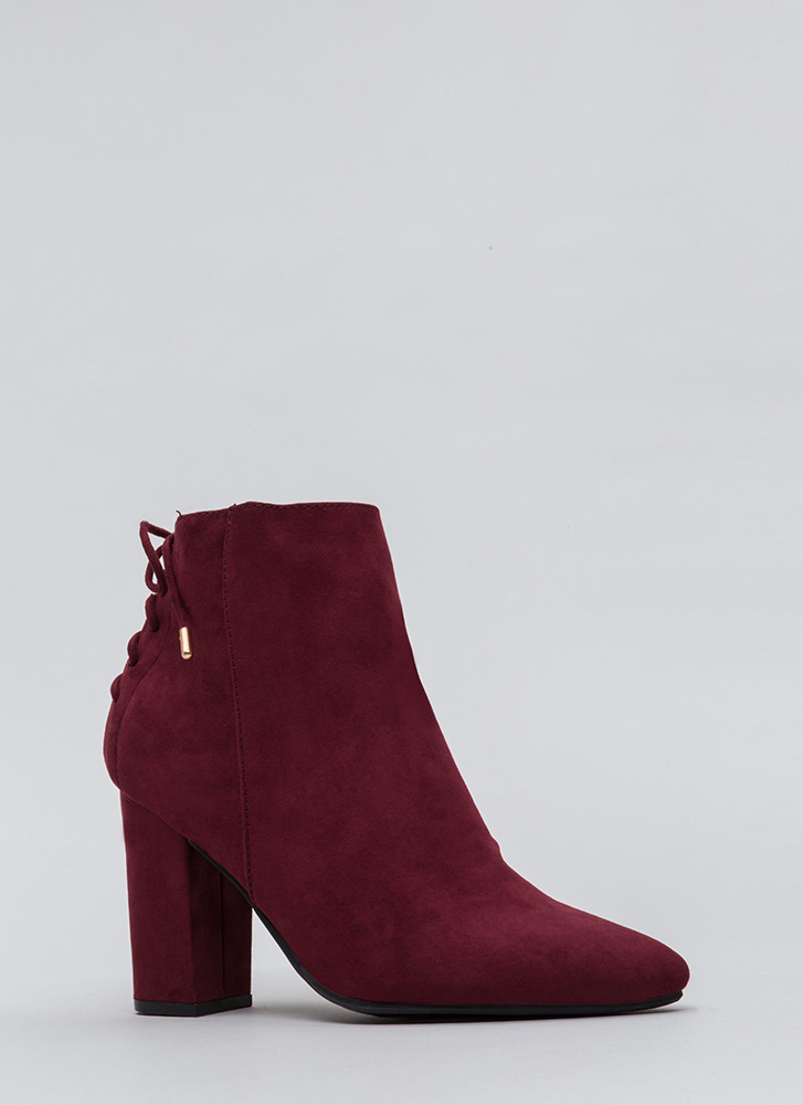 Lace It Back Pointy Faux Suede Booties BURGUNDY