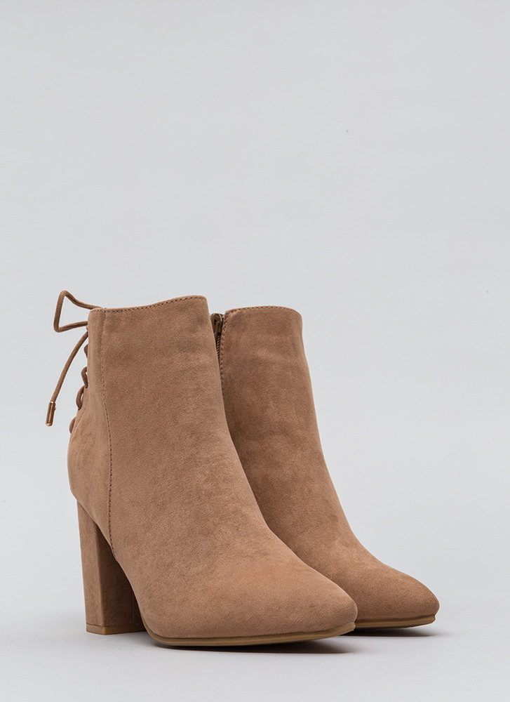 Lace It Back Pointy Faux Suede Booties CAMEL