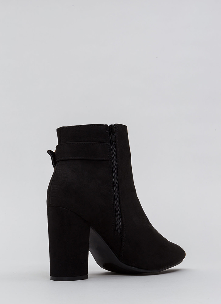 Just One Pointy Faux Suede Booties BLACK