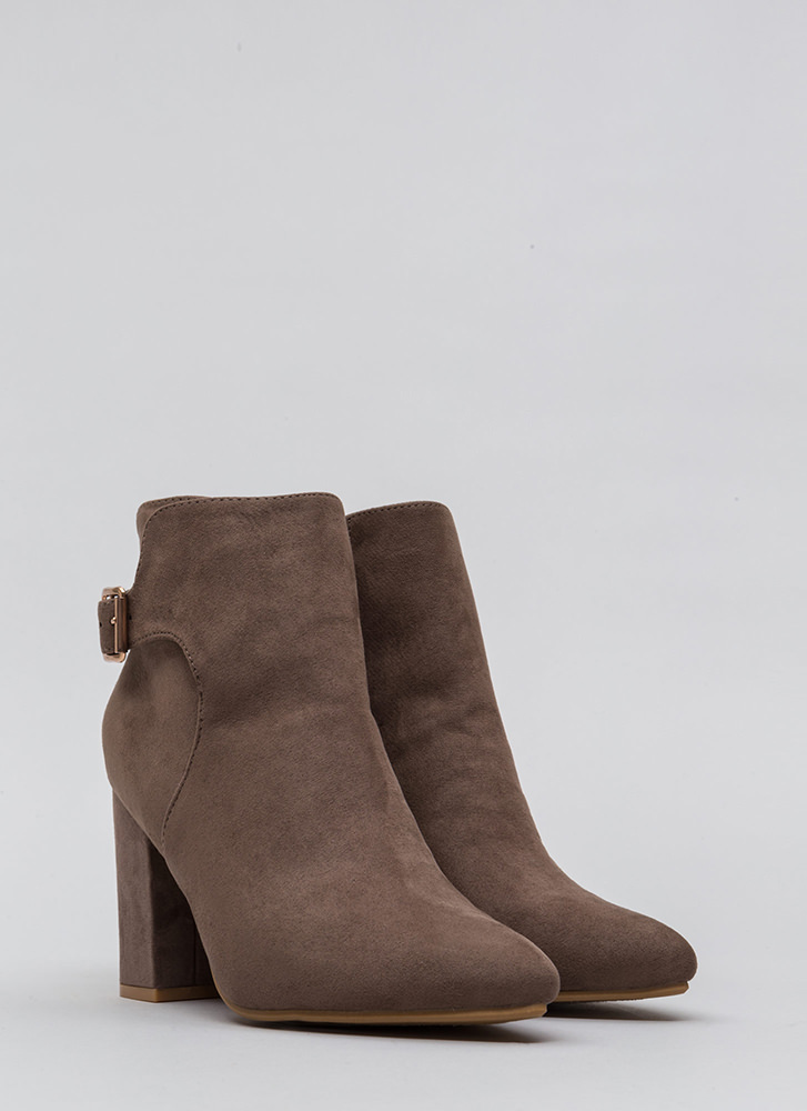 Just One Pointy Faux Suede Booties TAUPE