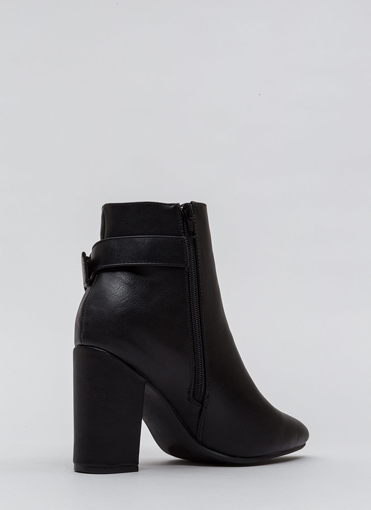 Just One Pointy Faux Leather Booties BLACK