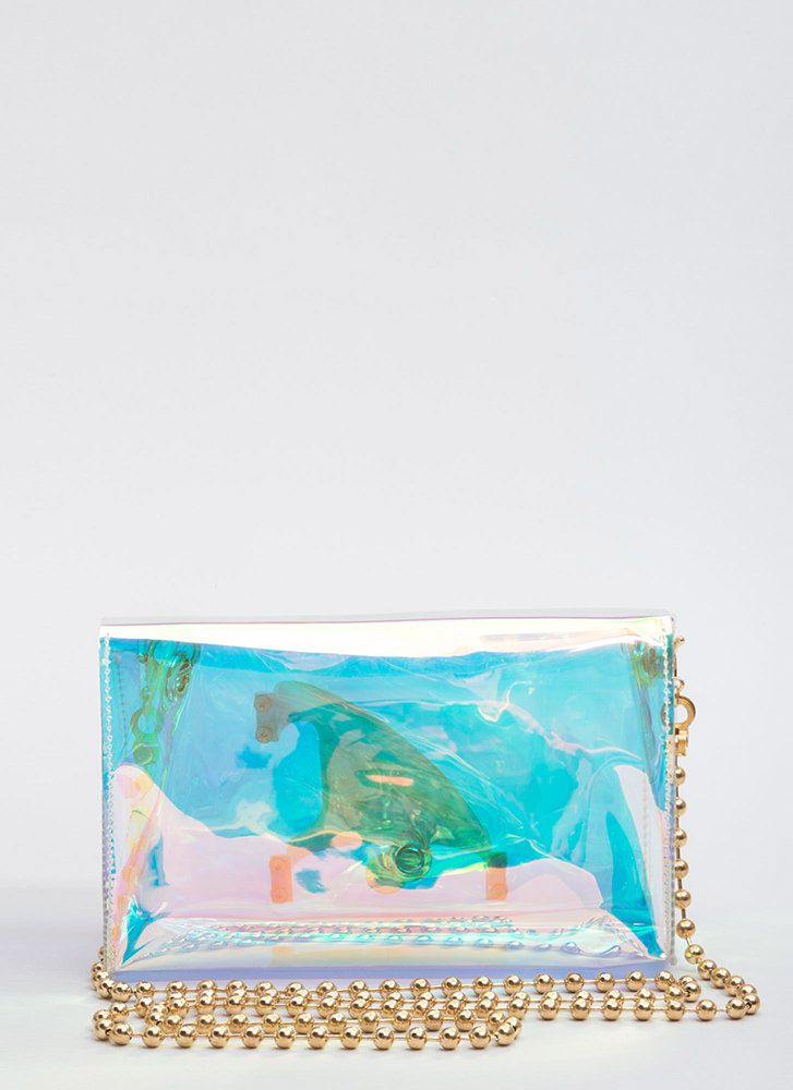 Handle It Clear Hologram Clutch CLEAR