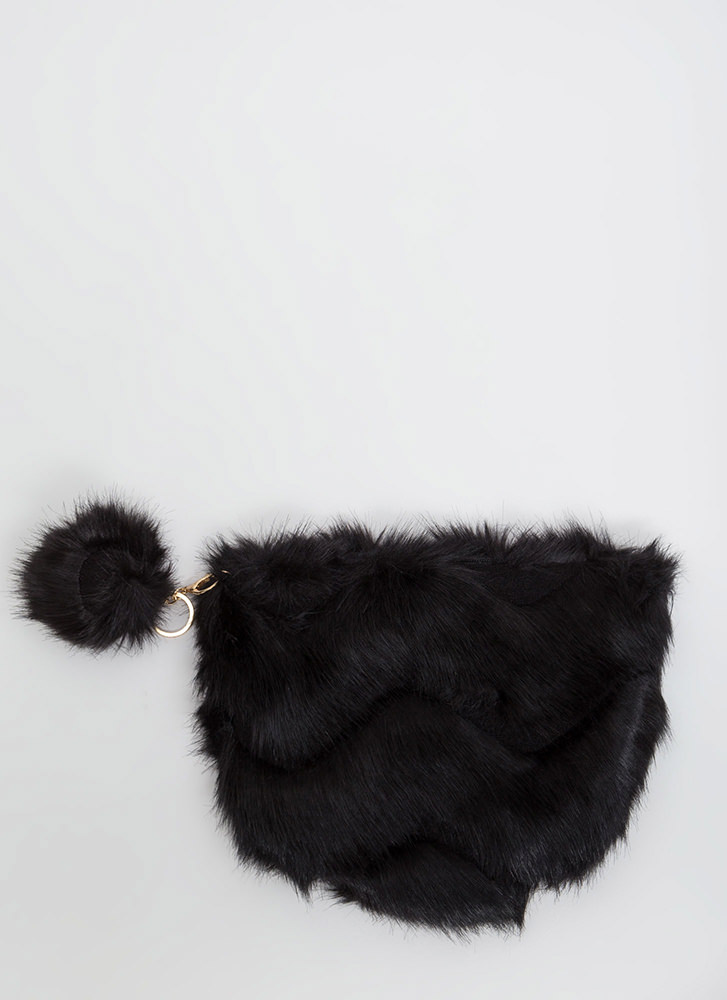 Fur The Win Zigzag Quilted Purse BLACK
