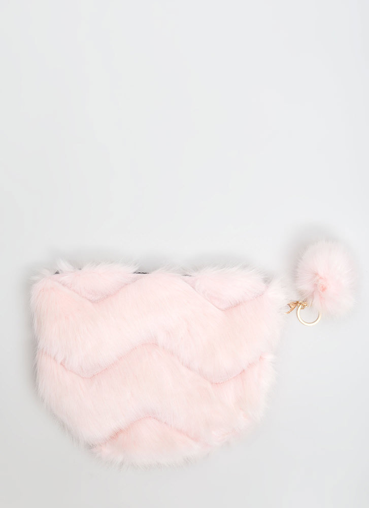 Fur The Win Zigzag Quilted Purse LTPINK