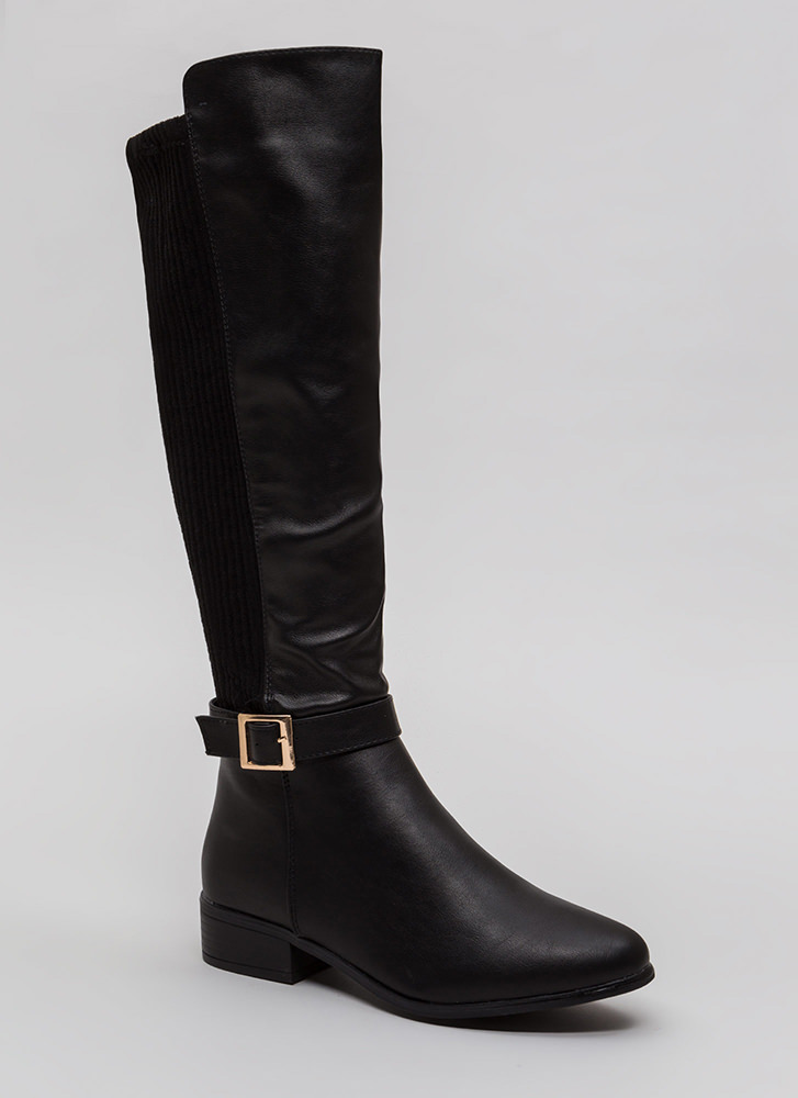 Back It Up Faux Leather Riding Boots BLACK