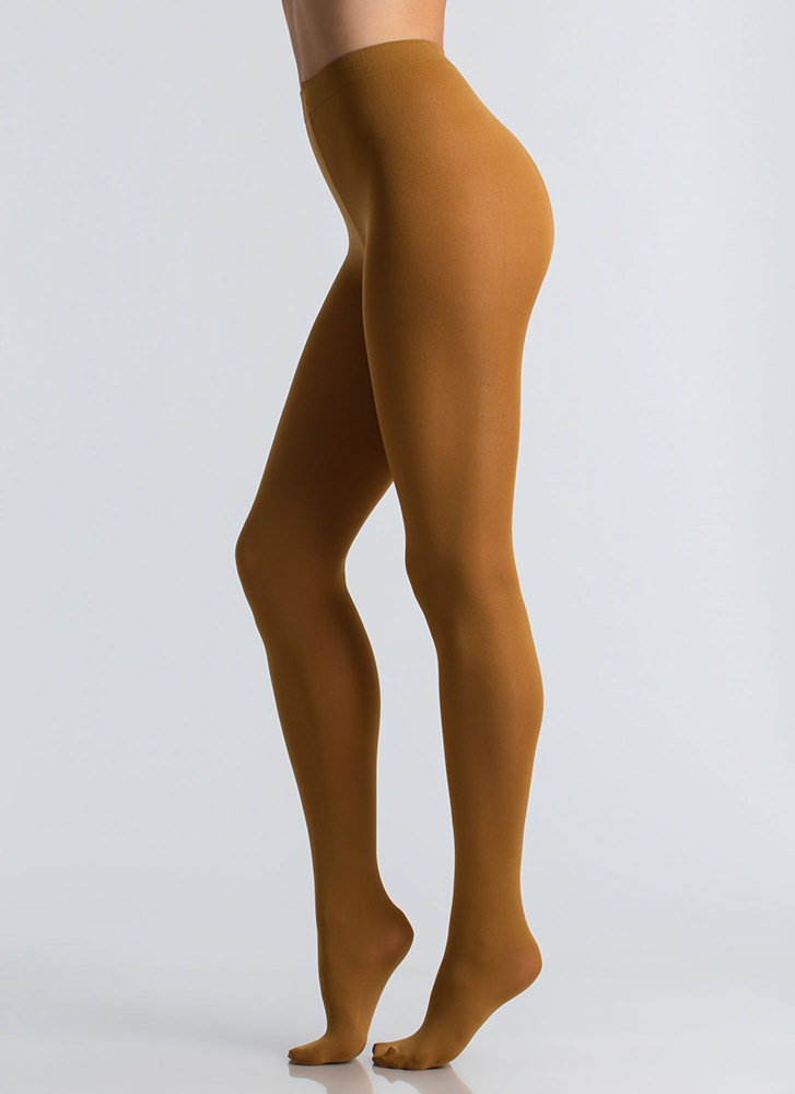 Every Day Is Leg Day Opaque Tights MUSTARD