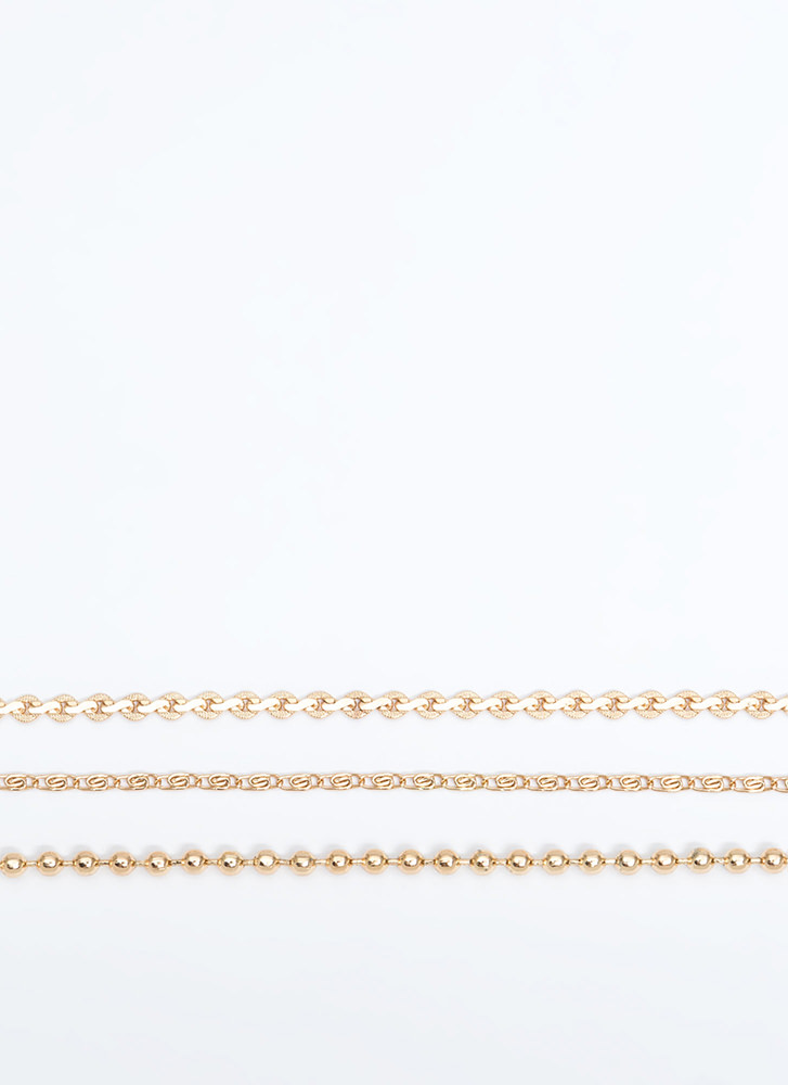 The Power Of Three Chain Choker Set GOLD