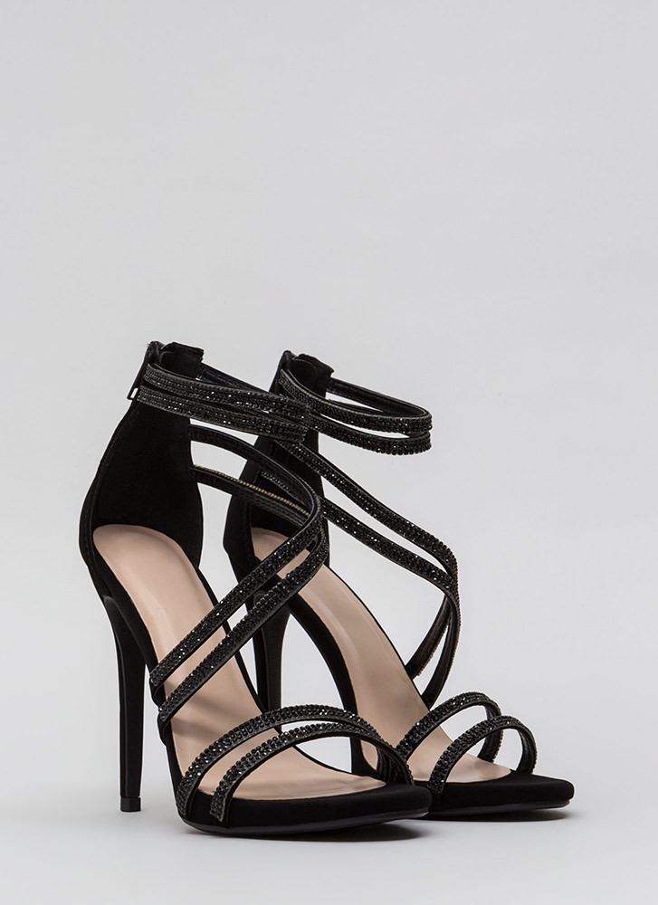Doubling Up Faux Nubuck Strappy Heels BLACK