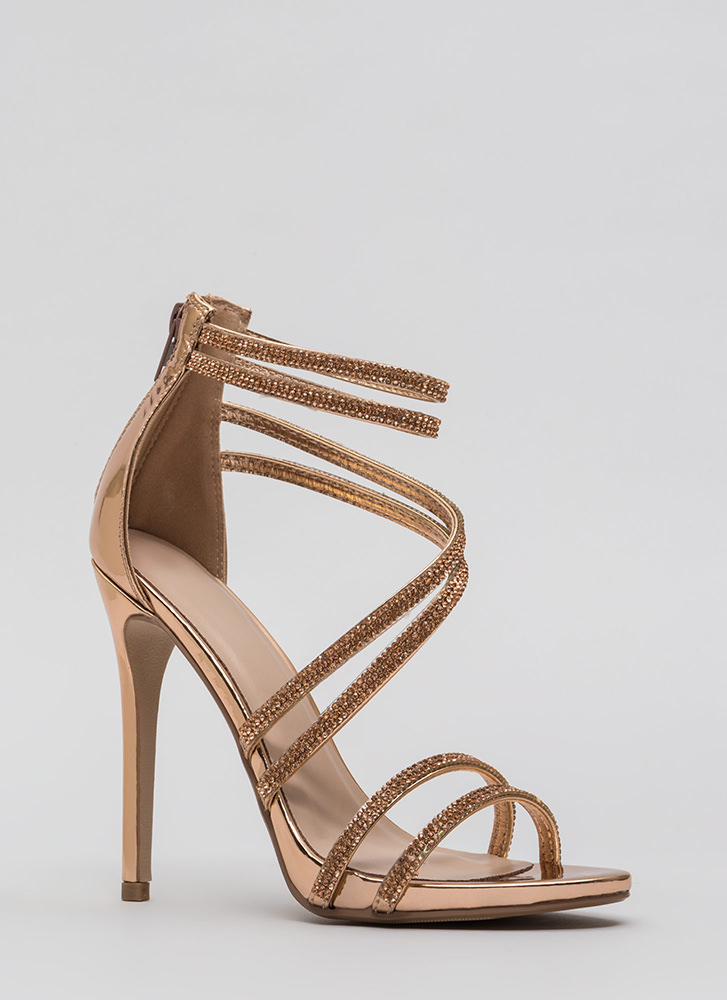 Doubling Up Faux Patent Strappy Heels ROSEGOLD (Final Sale)