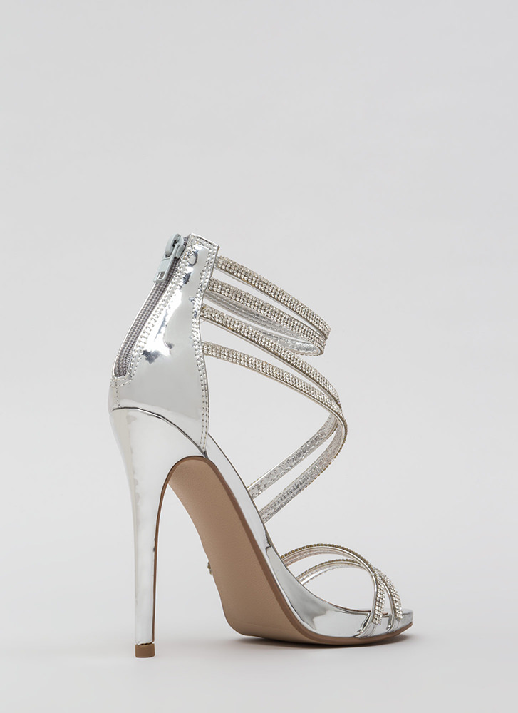 Doubling Up Faux Patent Strappy Heels SILVER