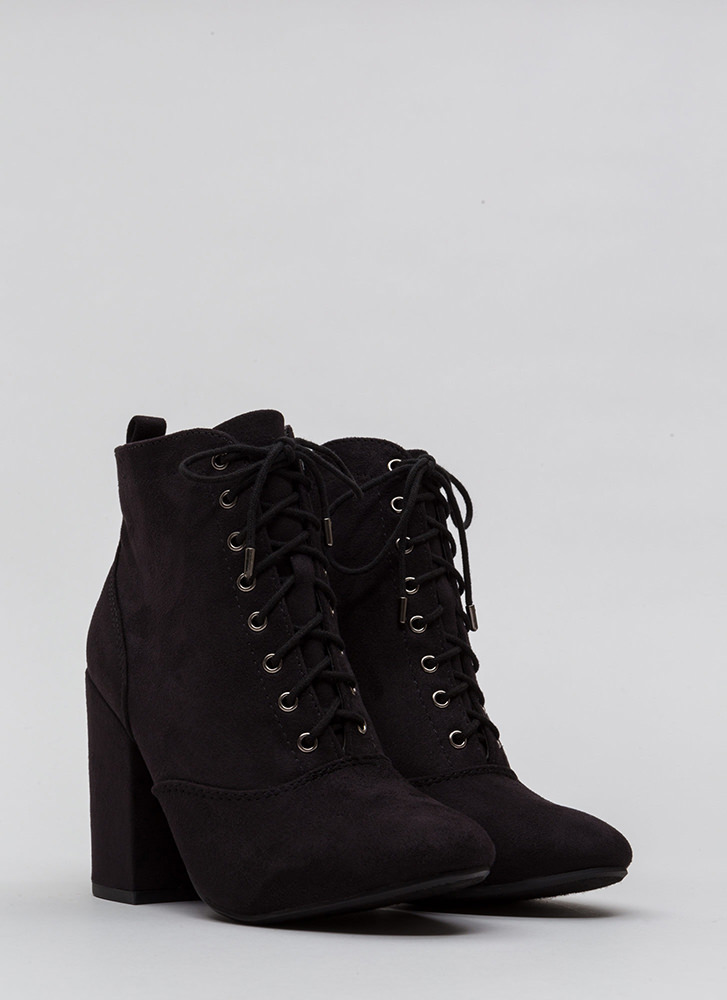 Block The Way Chunky Lace-Up Booties BLACK