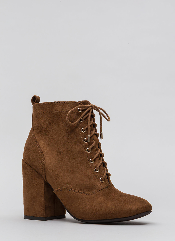 Block The Way Chunky Lace-Up Booties CHESTNUT
