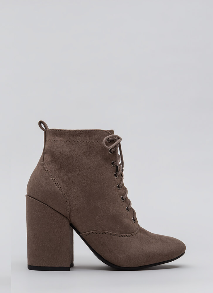 Block The Way Chunky Lace-Up Booties DKTAUPE