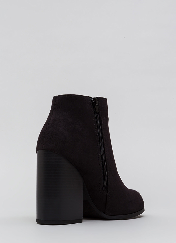 Block Collection Faux Suede Booties BLACK