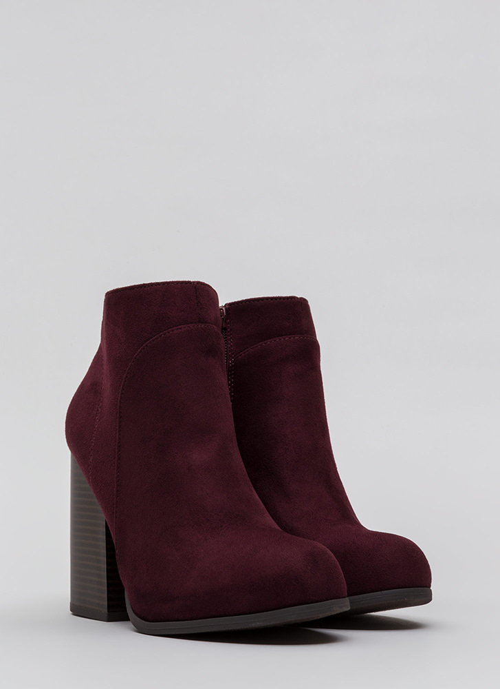Block Collection Faux Suede Booties VINO