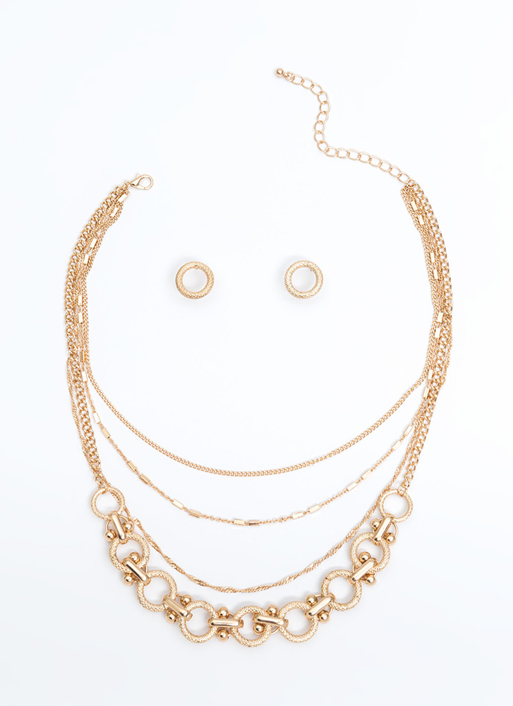 Put A Ring On It Layered Necklace Set GOLD