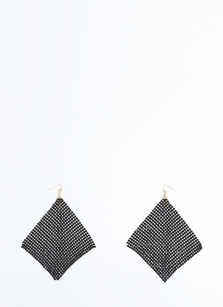 Square One Chainmail Earrings BLACK