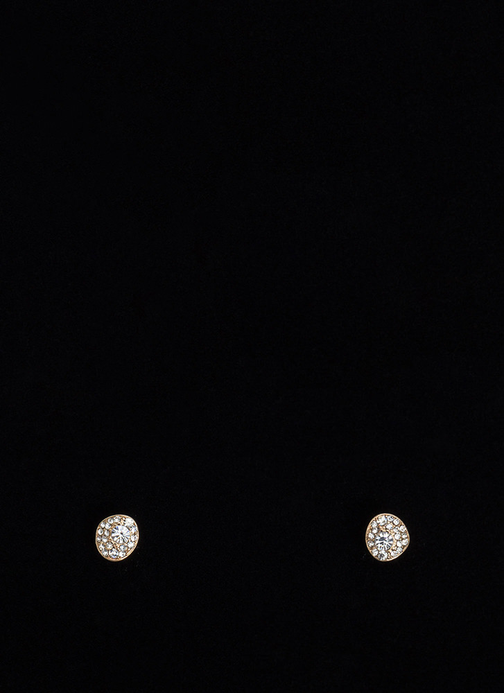 Sparkler Party Oval Stud Earrings GOLD