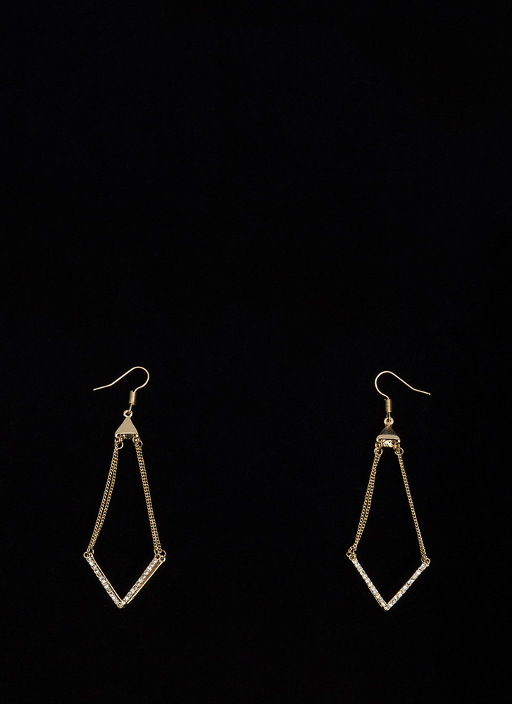 Let It V Known Jeweled Earrings GOLD